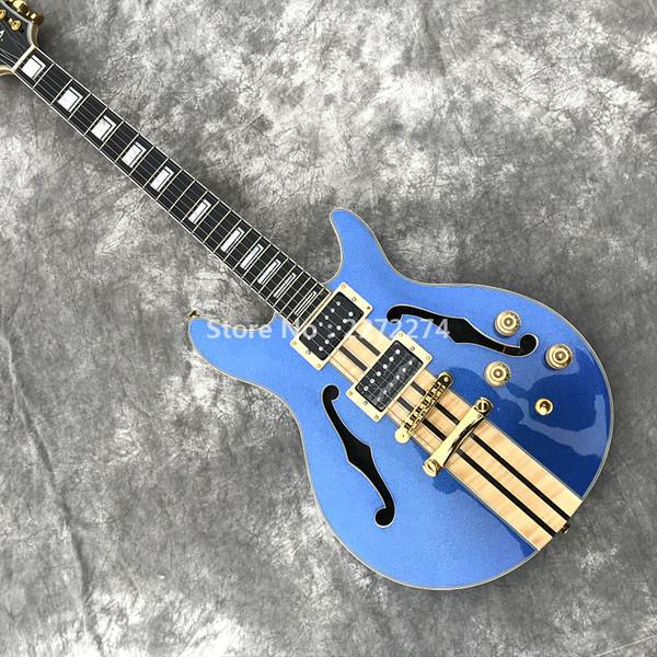 Custom Factory Wholesale New Blue Jazz Guitar Servicio de personalización personalizado