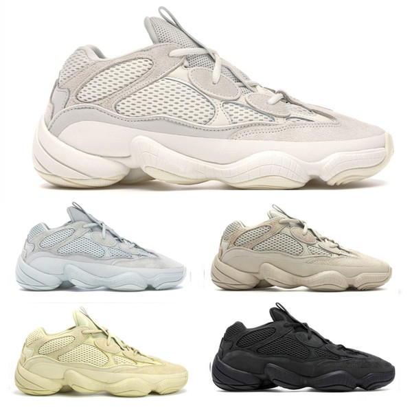 Nuevo Bone White Desert Rat 500 Zapatillas de diseñador para hombre Kanye West 500s Blush Supermoon Yellow Utility Black Salt Cow Leather Sports Shoes 36-45