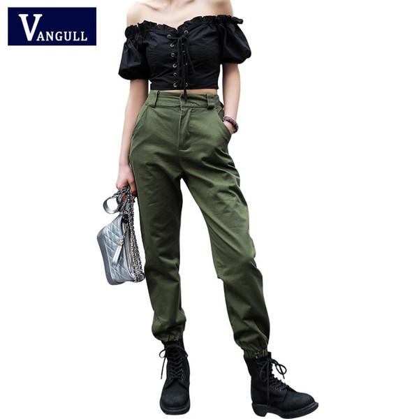 Vangull Hohe Taille Neue Lose Jogger Armee Harem Camo Streetwear Punk Schwarz Cargohose Frauen Capris Hose Q190420