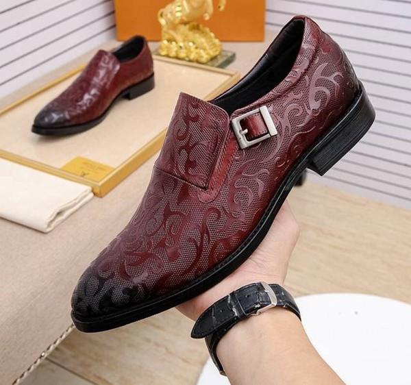 Brand Men cow leather dress wedding shoe Fashion formal Suit Business Office Shoe Lace-up Low Heel Horsebit Loafers Oxfords,38-46