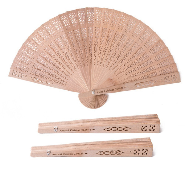 10pcs Personalized Wedding Sandalwood Hand Fan Wedding Favor Bridal Shower Gift Folding Customized Wood Hand Fans