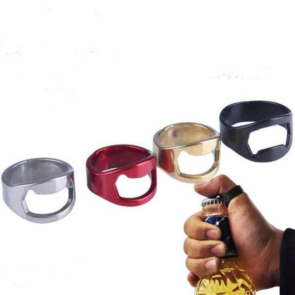 Nueva botella de anillo de dedo portátil abridor de acero inoxidable colorido barra de cerveza herramienta Bottel favorece el envío gratis