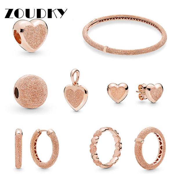 ZOUDKY NOUVEAU 100% Argent 925 Spring Aperçu or rose mat coeurs Brilliance Bague Boucle d'oreille Bracelet Charm Clip Bijoux Cadeau