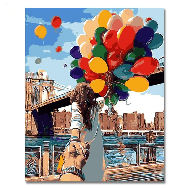 dipinti ad olio omantic WEEN Lovers Darsi la mano astratta figura pittura coppia fai da te digitale pittura dai numeri moderna della parete di illustrazioni per F ...