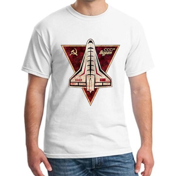Erkek T Gömlek CCCP Rusya Sovyetler Birliği SSCB Dönemi Uzay Interkosmos Boctok Roket Buran Uzay Mekiği adam beyaz gevşek Tee NN
