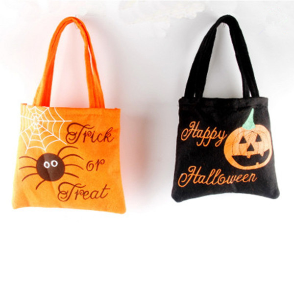 sacs à main Halloween non-tissés de sucrerie de Halloween Sac de jute Sacs pour enfants Sac cadeau araignée citrouille Imprimé Organisateur Party Supplies Sac