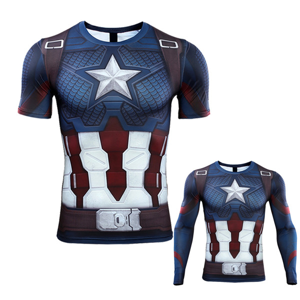 3D Captain America T-shirt Cosplay Avengers Endgame Captain America Costume Avengers 4 Steve Rogers T-shirts Sport Tight Tees