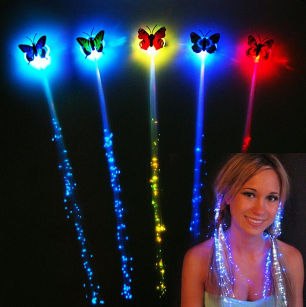 Funny LED Flash Braid Women Colorful Luminous Hair Clips Barrette Fiber Hairpin Light Up Party Halloween Bar Night Xmas Toys Decoration