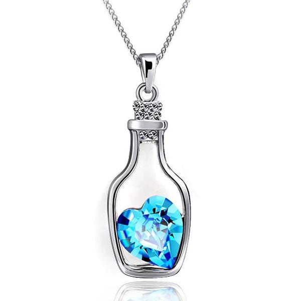 Vente en gros-N712 Creative Femmes Collier De Mode Mesdames Style Populaire Amour Dérive Bouteilles Pendentif Collier Bleu Coeur Cristal Pendentifs Colar