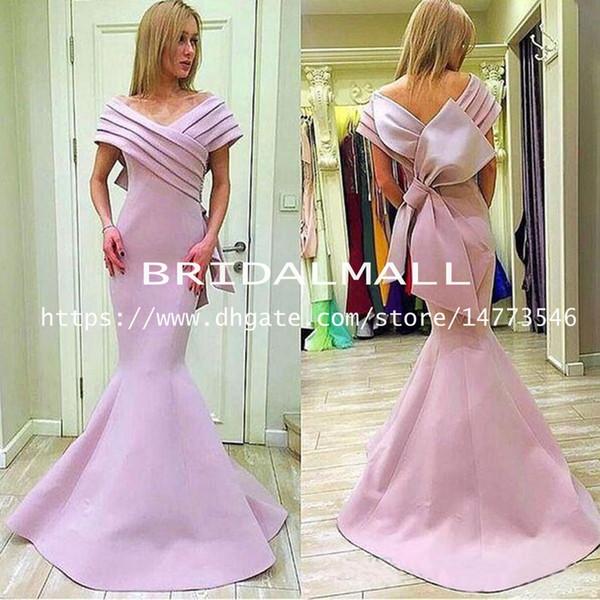 Erröten Sie Rosa Falten Satin Mermaid Prom Dresses 2019 Schulterfrei Drapierte Bogen Backless Lange Formale Party Kleider Elegantes Afrikanisches Abendkleid