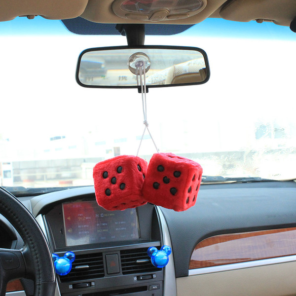 Car Pendant Plush Dice Craps JDM Automobiles Rear View Mirror Charms Hanging Suspension Ornaments Decoration Random