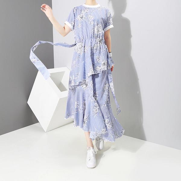 New 2019 Pin Up Design Summer Women Blue Striped Tunic Dress With Belt Short Sleeve Floral Print Girls Cute Wear Sun Dress F224