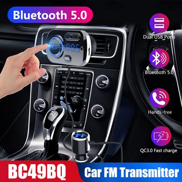 QC 3.0 Bluetooth 5.0 intelligent Transmetteur FM kit voiture mains libres Chargeur allume-cigare lecteur MP3 carte TF Lights atmosphère colorée