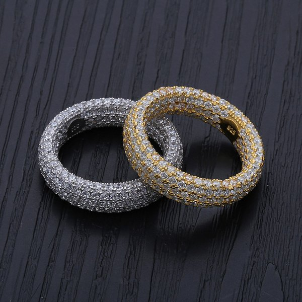Anelli Cubic Zirconia S925 Pave Sterling Silver Full Micro CZ Diamanti Anello Hiphop Gioielli regalo per gli uomini