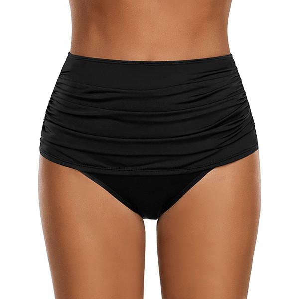 Bañador 2019 Bañador de talle alto con pliegues en la parte inferior de la cintura de las mujeres 2019 Traje de baño Braguitas Plus Size maillot de bain femme