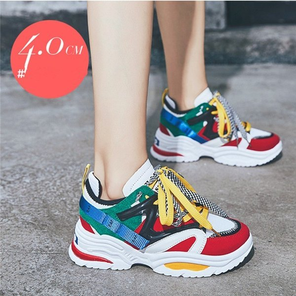 2019 Stylish Women Increasing 4CM Sneakers Cushioning Height Platform Breathable Casual Ladies Slip-on Spring and autumn New