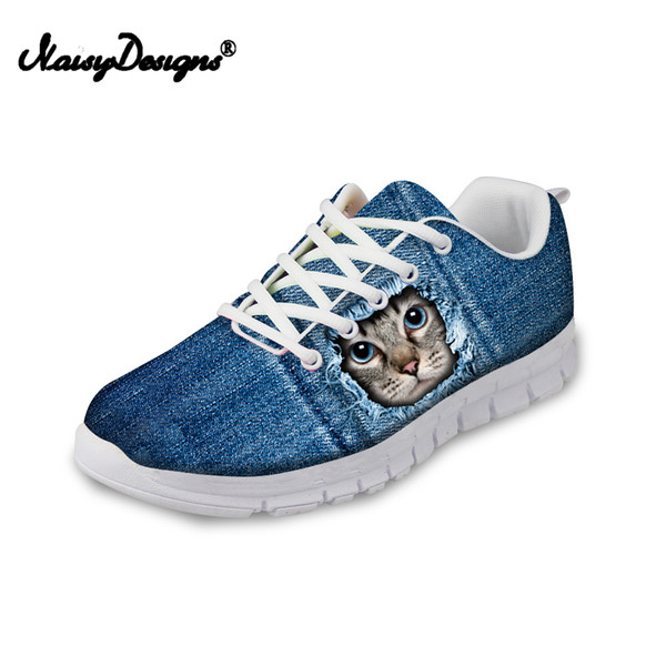 Noiydesigns Women Jeans Cat Dog Print Sneakers Flats For Female Ladies Girls Lightweight Mesh Walk Shoes DropShip Custom Gifts