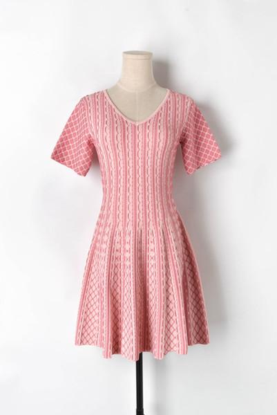Summer new women dresses Vertical football pattern large swing knit skirt short sleeve knit Vertical stripe grid dress