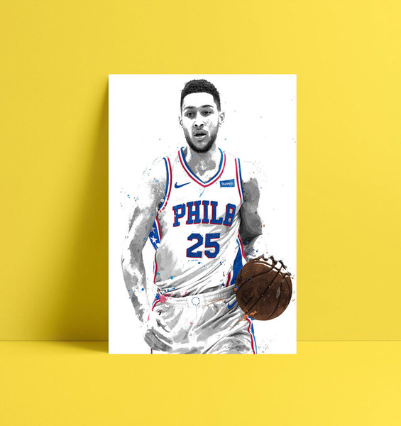 HD Printed Basketball Player Sports Oil Painting Home Decoration Wall Art on Canvas Ben Simmons 16x24inch Unframed