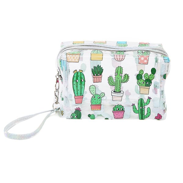 Cartoon Print Cactus/Pineapple Cosmetic Bag PVC Transparent Travel Storage Pouch Wome Toiletry Wash Bag