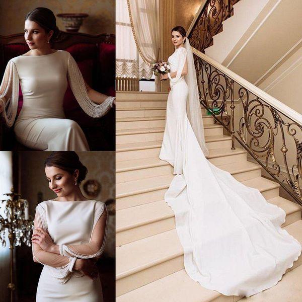Graceful Satin Mermaid Wedding Dresses Bateau Neck Tassel Long Sleeve Garden Wedding Gowns Boho vestido de novia