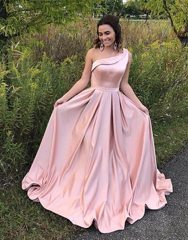 Women Fashion Pink One Shouder Full Length Taffeta Sheath Sexy Long Evening Dress Prom Dress For Formal Occasion Party Custom Plus Size