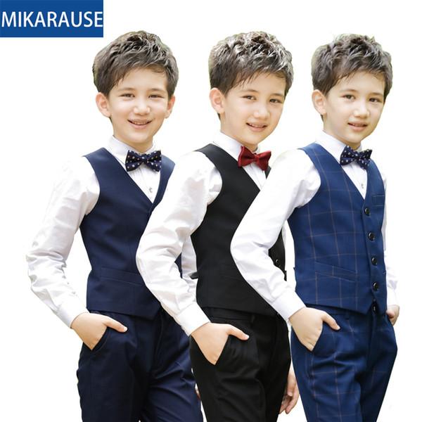 garçons nouveaux enfants vêtements ensembles à carreaux gilet garçons costume vêtements costumes pour enfants costume piano soirée étudiante de l'école de mariage gilet CJ191210