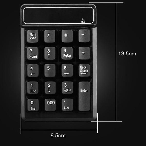 2.4GHz Mini USB Teclado numérico inalámbrico 19 Teclas número Pad Numpad Receptor para Windows XP / 7/8 Ordenador portátil PC IJS998