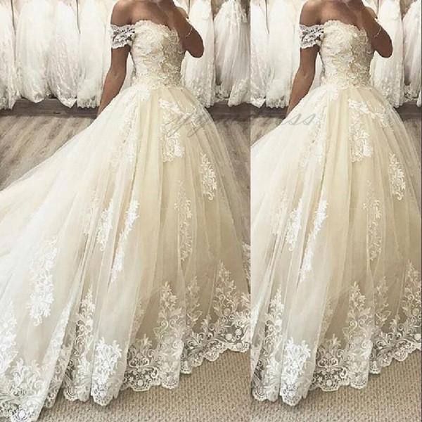 2019 Новый Элегантный Арабский Бальное Платье Свадебные Платья Лодка Шеи Жемчуг Cap Рукава Кружева Аппликации Кичливый Часовня Поезд Плюс Размер Свадебные Платья
