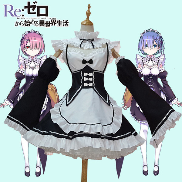 Anime Re:zero Kara Hajimeru Isekai Seikatsu Life In a Different World Ram Rem Cosplay Costume Maid Dress Halloween CostumeMX190921