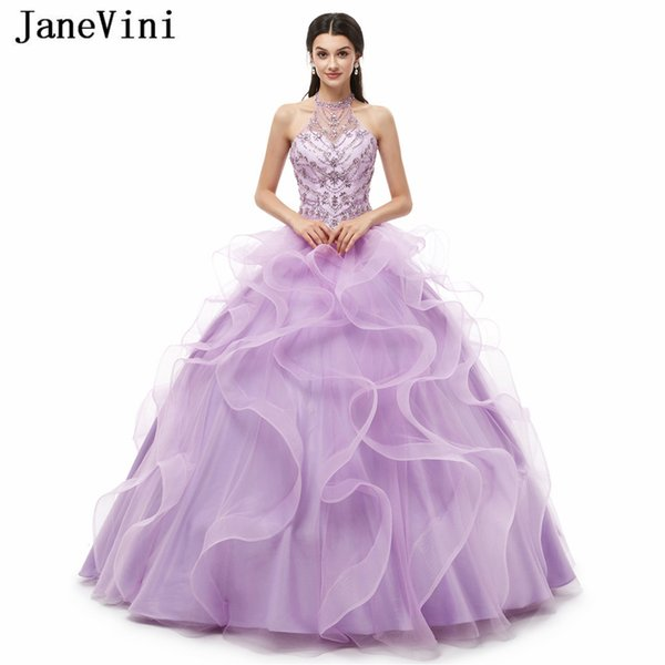 a126eff16f6 JaneVini Charming Lilac Quinceanera Dresses Long Ball Gown Halter Crystal  Beaded Puffy Plus Size Princess Tulle