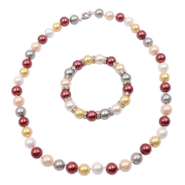 Modeschmuck Set Simulierte Perlenkette Armband für Frauen Glas Shell Perlen Sets Kristall Braut Party Hochzeit Gifst A924
