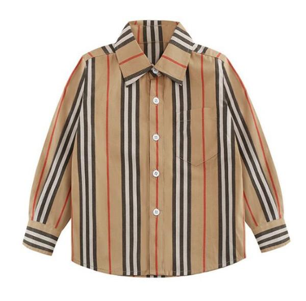 Çocuk ilkbahar ve sonbahar polo uzun klasik şerit kalite erkek manşonlu dibe gömlek