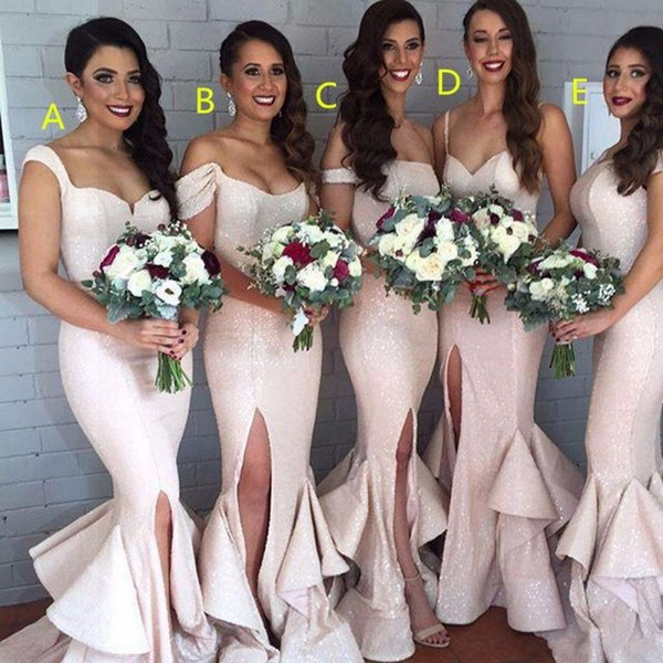 Mermaid Blush Sequin Bridesmaid Dresses Split Light Pink Tiered Ruffled Sexy Bridesmaids Maid Honor Of Gowns Burgundy Bridesmaid Dresses Convertible