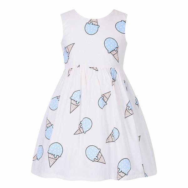 Kleinkind Kleid Robe Enfant Ice Cream Print Kleid Prinzessin Kostüme für Kinder 2019 Marke Mädchen Sommerkleider Kinder Kleidung