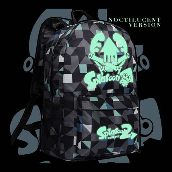 Luminous Switch Splatoon 2 Backpack Game Topic Shoulder Bags for Teenagers Boys Girls Bookbag in Black Color Anime Style