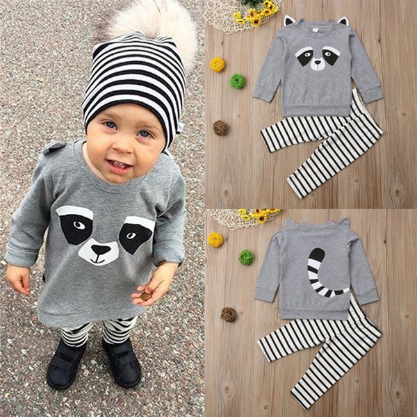 New kids clothes Outfits Cute Panda Printed Long Sleeves Tops+Grey striped trousers 2 pieces set kids designer clothes JY573