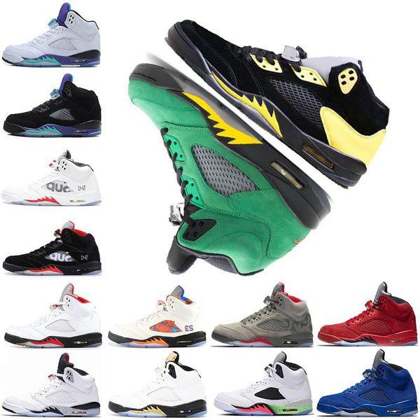 5 5s Basketballschuhe Ducks Sup International Flight Blau Rot Wildleder Weiß Zement Sport Sneakers Größe 40-47