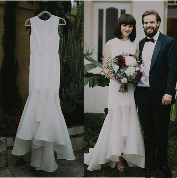 Simple Satin High Low Vintage Mermaid Wedding Dresses Boho Beach Bridal Dresses Rustic Hippie Organza Ruffle Bridal Gowns