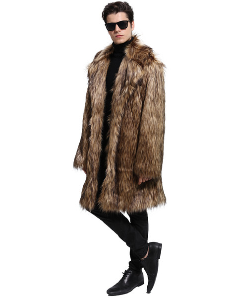 Fur Coat Winter Faux Fur Warm Outwear Coats Men Punk Parka Jackets Thick Leather Overcoat Genuine Fur Clothing For Men