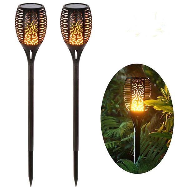 Güneş Torch Işık Lambası Gerçekçi Dans Alev Aydınlatma 96LED Açık Bahçe Yolu Için Titreşen Dekoratif Işıklar 32 Parça DHL