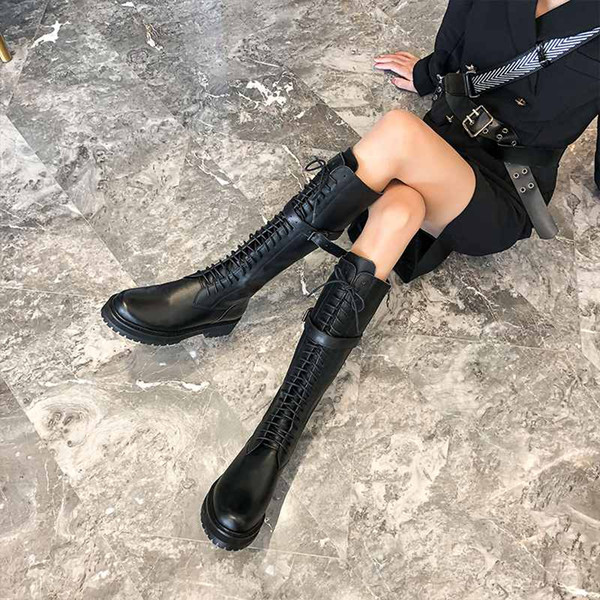 krazing pot genuine leather lace up med heels round toe punk superstar equestrian boots buckle fasteners over-the-knee boots l35 A132