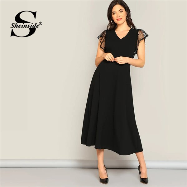 Sheinside Black Dot Mesh Armhole Fit And Flare Dress Elegant Black Women 2019 Summer High Waist Dresses Solid Ladies Dress