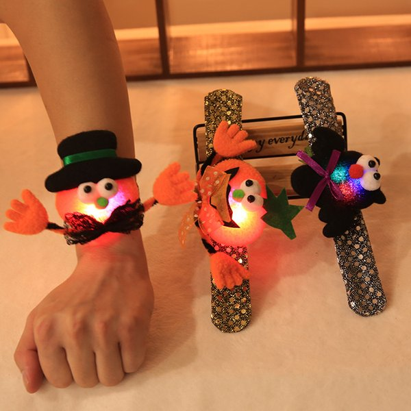 Led Halloween Pops Rings Sequin Slap Clap Bracelet Party Decoration For Pumpkin Ghost Bat Hand Circle Toys Bandgle For Kids Adult HH9-2315