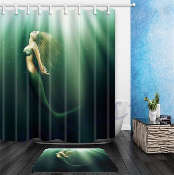 Printed Bathroom Shower Curtain Set Waterproof Stylish Design With Hooks GEF