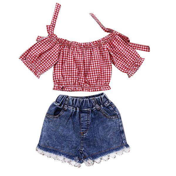 2Pcs/Set Baby Girls Outfits Lattice Pattern Short Sleeve Off Shoulder Top+Lace Jeans Short Pants Plaid T-shirt Kids Clothing Set