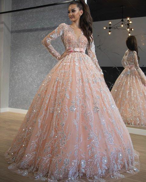 Compre Vestido De Quinceañera Con Apliques De Lentejuelas De Color Rosa Perla De Lujo Vestido De Quinceañera De Manga Larga Vintage Vestido Largo De