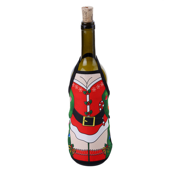 2019 New 15*19.5cm Christmas Apron Bottle Cover For Christmas Home Decoration Wine Bottle Sets Xmas Party Supplies