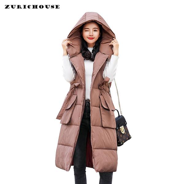 Kadın Kış Yelek Yelek Kapşonlu Uzun Kolsuz Ceket 2019 Moda Ayarlanabilir Kemer Rahat Pamuk Yastıklı Aşağı Yelek Kadın