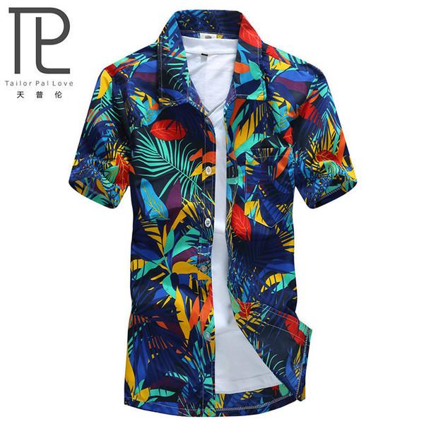 Mens Hawaiian Shirt Male Casual camisa masculina Printed Beach Shirts Short Sleeve brand clothing Free Shipping Asian Size 5XL C18122701